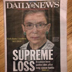 Daily News Ruth Bader Ginsburg RBG Newspaper